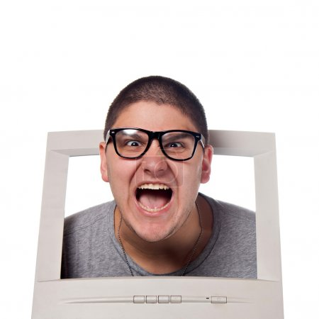 Head Coming Out of a Computer Screen