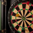 A professional dart board enclosed in a cabinet wi...