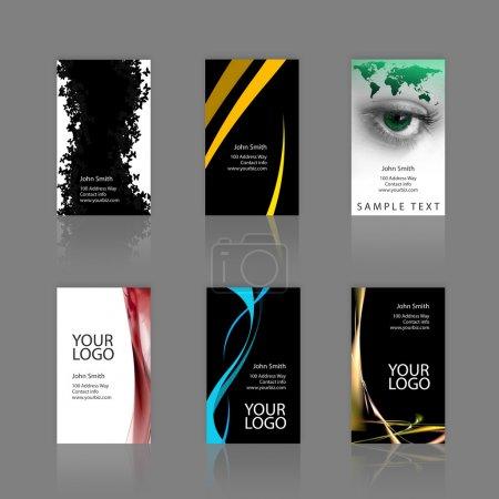 Photo pour Un assortiment de 6 cartes de visite modernes - modèles qui sont imprimer prêt et entièrement personnalisable. Il s'agit de saigner.25 pouces. les cartes sont de 3,75 x 2,25 totale, et - image libre de droit