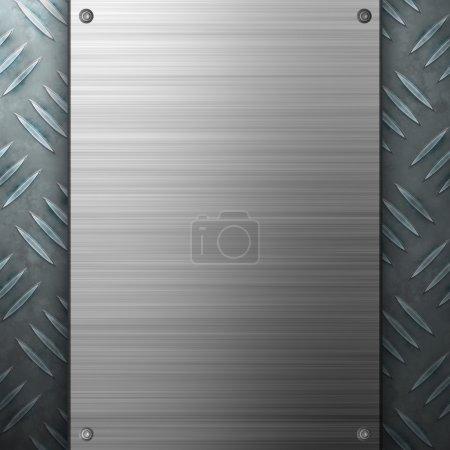 Photo pour Diamant usé plaque texture métallique avec une plaque d'aluminium brossé rivetée. fait un grand modèle de mise en page ou de carte de visite. - image libre de droit