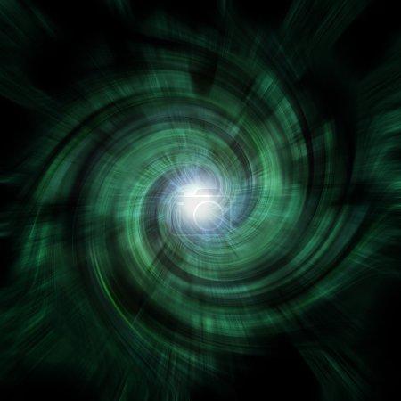 Photo pour Un tourbillon de tunnel en spirale verdâtre avec une fusée éclairante centrale au point focal . - image libre de droit