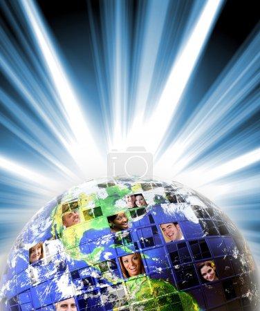 Photo pour Montage illustré de la terre avec un réseau mondial de tous les horizons sur différents continents. Photo de la Terre gracieuseté de NASA . - image libre de droit