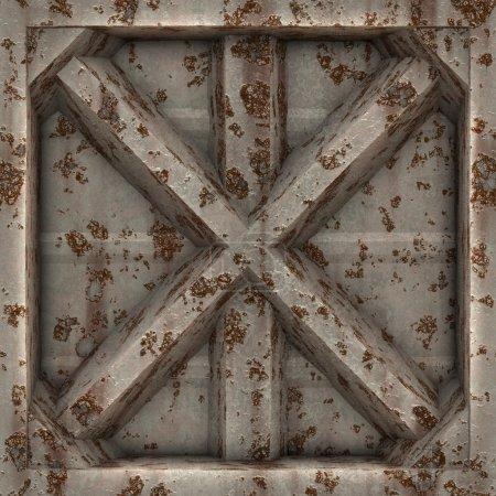 Photo pour Une rouillés et usée 3d plaque métallique en forme de x. Cela carreaux parfaitement comme un motif. - image libre de droit