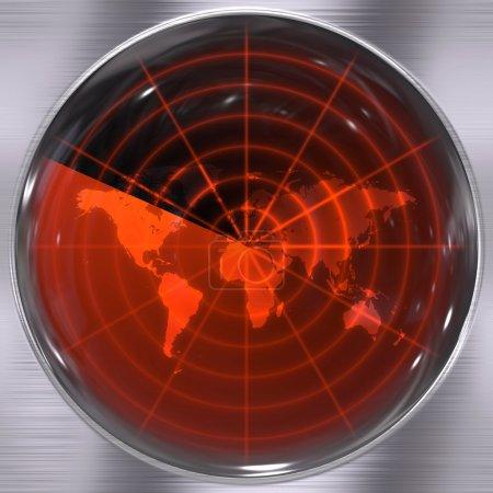Photo pour Le monde sur un écran radar - les blips peuvent être ajoutés facilement partout où ils sont nécessaires . - image libre de droit