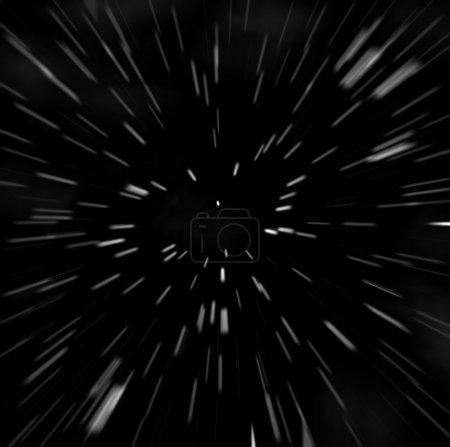 White stars: hyperspace zoom-blur