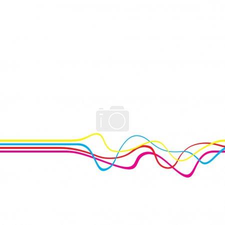 Foto de Diseño abstracto con líneas onduladas en un esquema de color CMYK aislado sobre un fondo de color sólido blanco . - Imagen libre de derechos