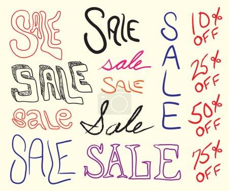 Illustration pour Éléments de signe de vente écrits à la main pour toute promotion marketing. Tous les éléments de cette image vectorielle sont facilement personnalisés . - image libre de droit