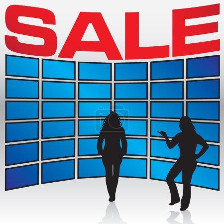 Illustration pour Quelques femmes se tiennent devant un mur de téléviseurs lors d'une vente en magasin . - image libre de droit