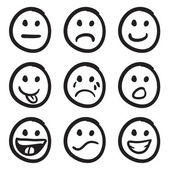 An icon set of doodled cartoon smiley faces in a variety of expressions
