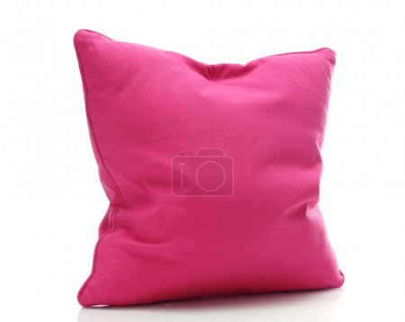 Photo for Bright pink pillow isolated on white - Royalty Free Image