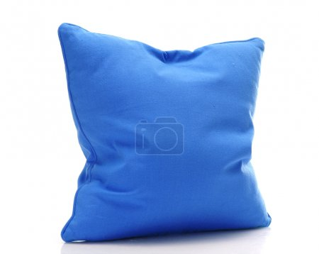 Photo for Bright blue pillow isolated on white - Royalty Free Image