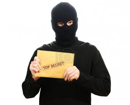 Bandit in black mask with top secret envelope isolated on white
