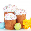 Beautiful Easter cakes, colorful eggs and flowers ...