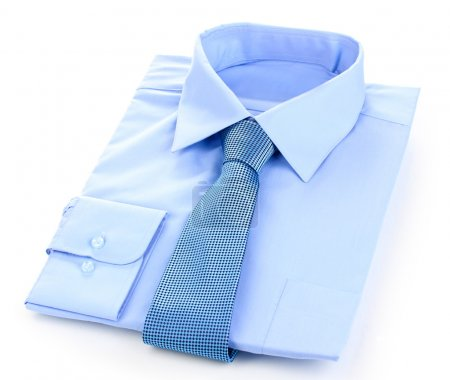 New blue man's shirt and tie isolated on white