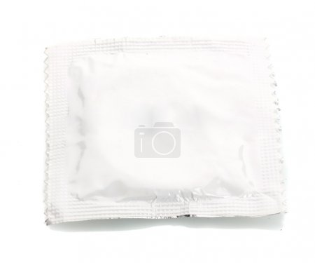 One condom isolated on white