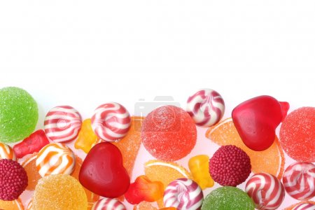 Colorful jelly candies isolated on white