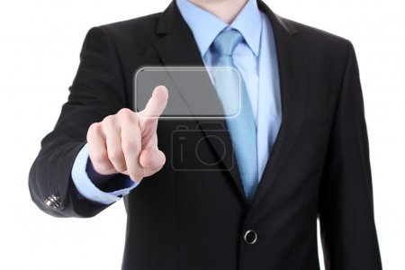 Business man in suit pointing on screen isolated on white