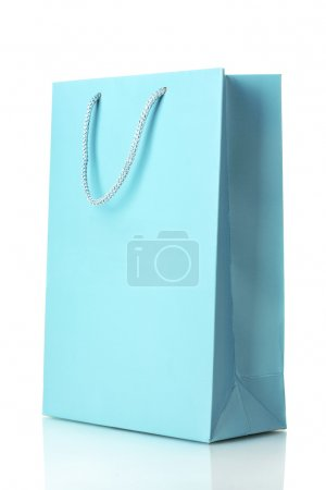 Blue shopping bag isolated on white