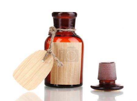 Photo pour Flacon de médicament avec étiquette vierge isolé sur blanc - image libre de droit