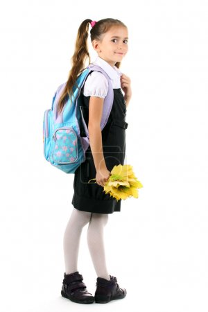 Portrait of beautiful little girl in school uniform with backpack and autum