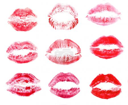 Collection of lips isolated on white
