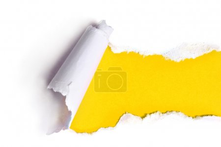 Photo for Torn paper with yellow background - Royalty Free Image