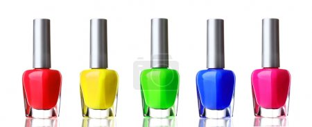 Bright nail polish on white background