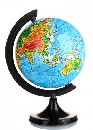 Globe in Ukrainian language isolated on white