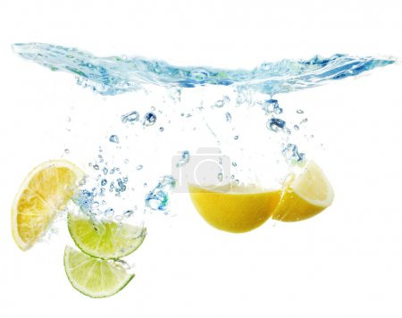 Slices of lemon and lime in the water