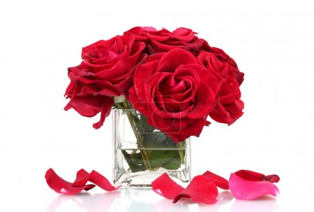 Beautiful bouquet of red roses in vase isolated on white