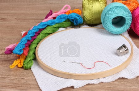The embroidery hoop with canvas and bright sewing threads for embroidery in