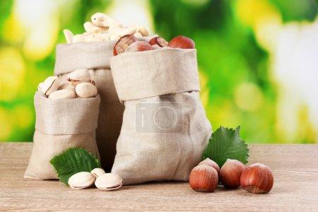 Photo pour Beaucoup de noix dans des sacs sur fond vert - image libre de droit