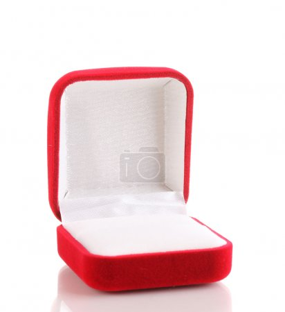 Red jewelry box isolated on white