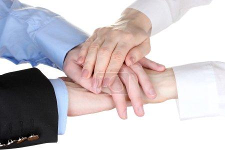 Photo pour Quatre mains isolés sur blanc - image libre de droit