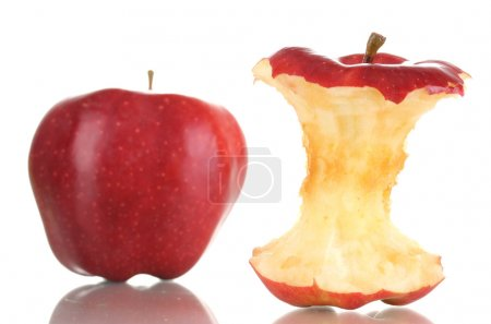 Red bitten apple and whole apple isolated on white
