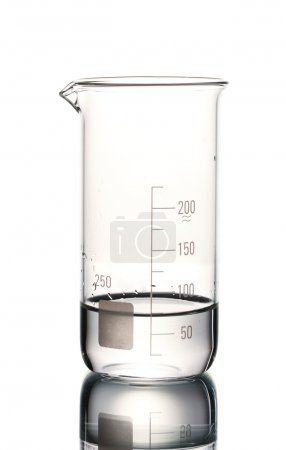 Measuring beaker with water and reflection isolated on white