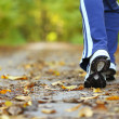 Woman walking cross country and trail in autumn fo...