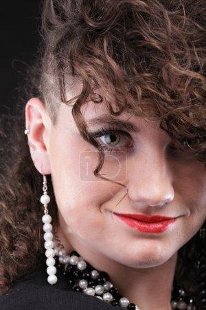 Ear super piercing woman curly girl