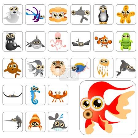 Cartoon animals big set vector...