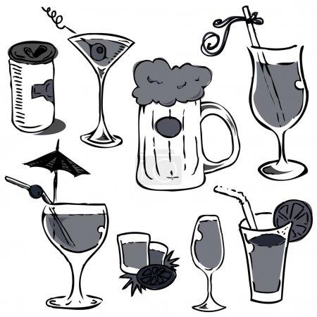 Illustration pour Ensemble de gazon alcoolisé (dessin à la main) vecteur - image libre de droit