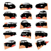 Car silhouette set vector