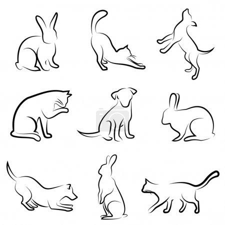 Photo pour Chien, chat, lapin dessin animal vecteur - image libre de droit