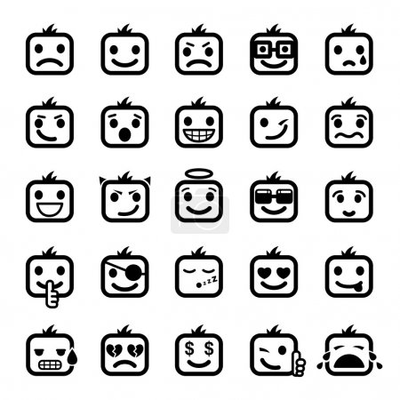 Illustration for Set of 25 smiley faces men characters - Royalty Free Image