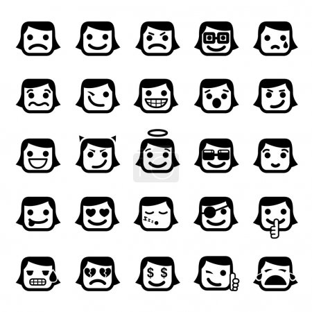 Set of 25 smiley faces