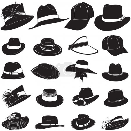 Illustration for Fashion hat set vector - Royalty Free Image