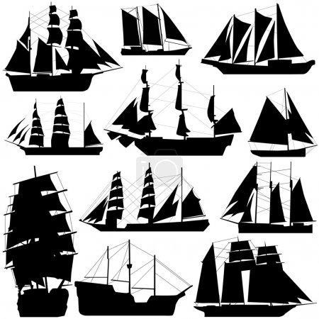 Illustration for Old ship set vector - Royalty Free Image