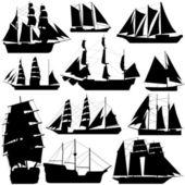 Old ship set vector