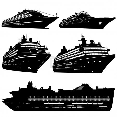 Illustration for Cruise ship set vector - Royalty Free Image