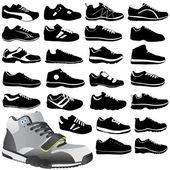 Fashion sport shoes set vector