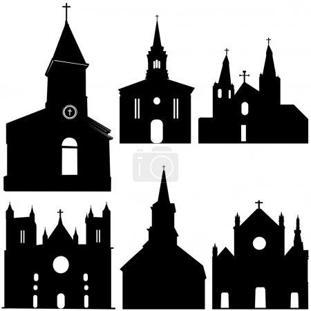 Silhouette of church vector art